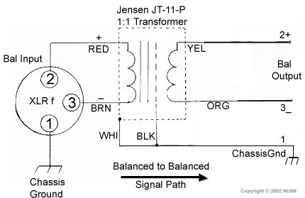 Jensen JT-11P-1 Balanced to Balanced Line Level Connections