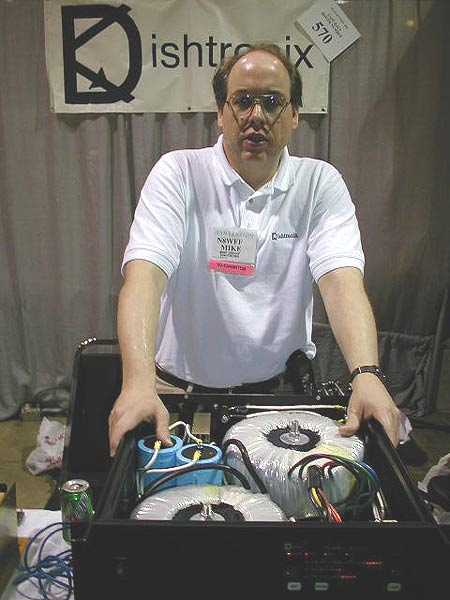 "Mike showing off the new ""Prometheous"" solid state amplifier"